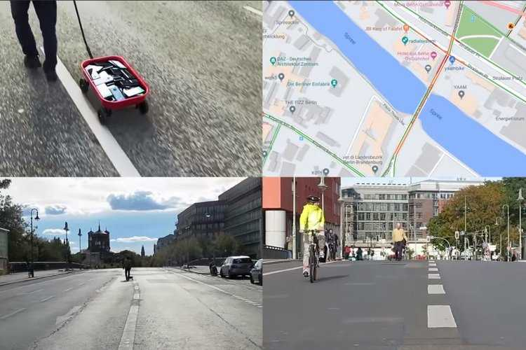 Proses mengelabui Google Map oleh Simon Weckert. (Youtube/Simon Weckert)